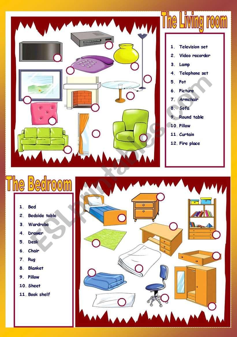 The living room / The Bedroom worksheet
