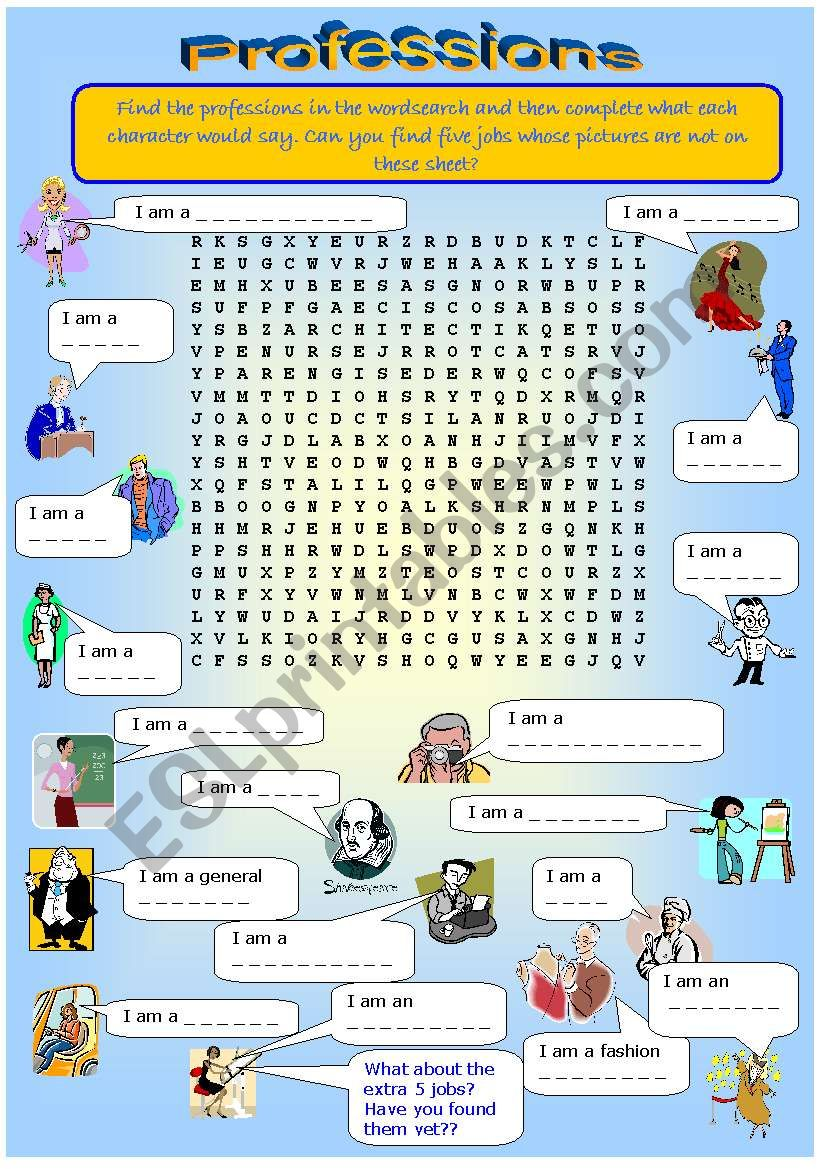 Wordsearch on Professions worksheet