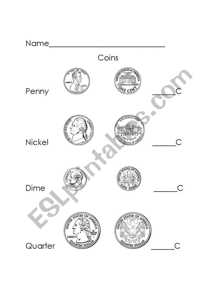 Coins worksheet