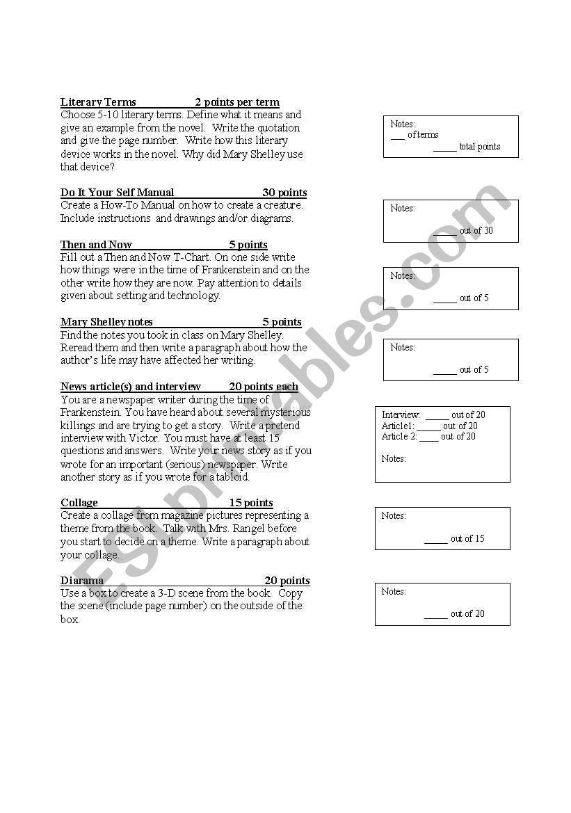 English worksheets: Frankenstein Project Grading Rubri