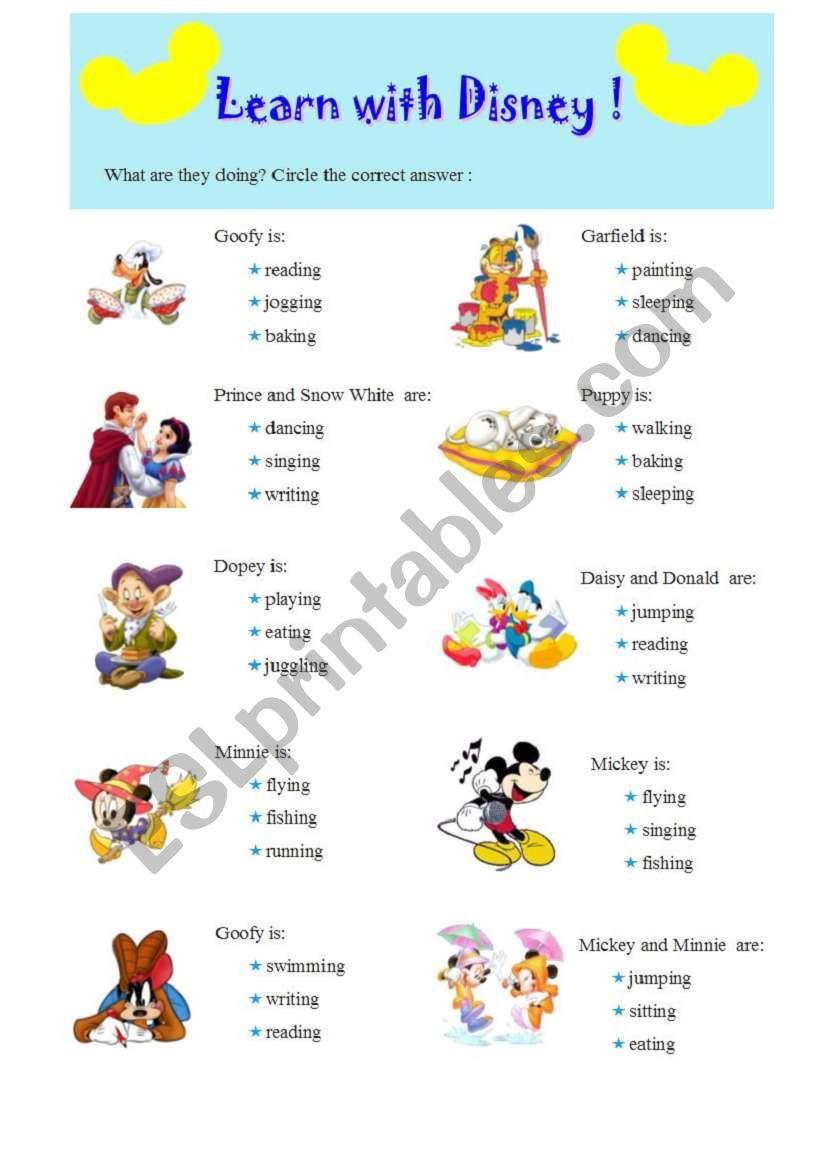Present Continuous practice with Disney fairy-tales - ESL