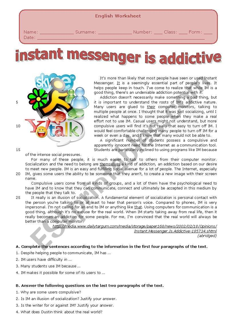INSTANT MESSENGER worksheet