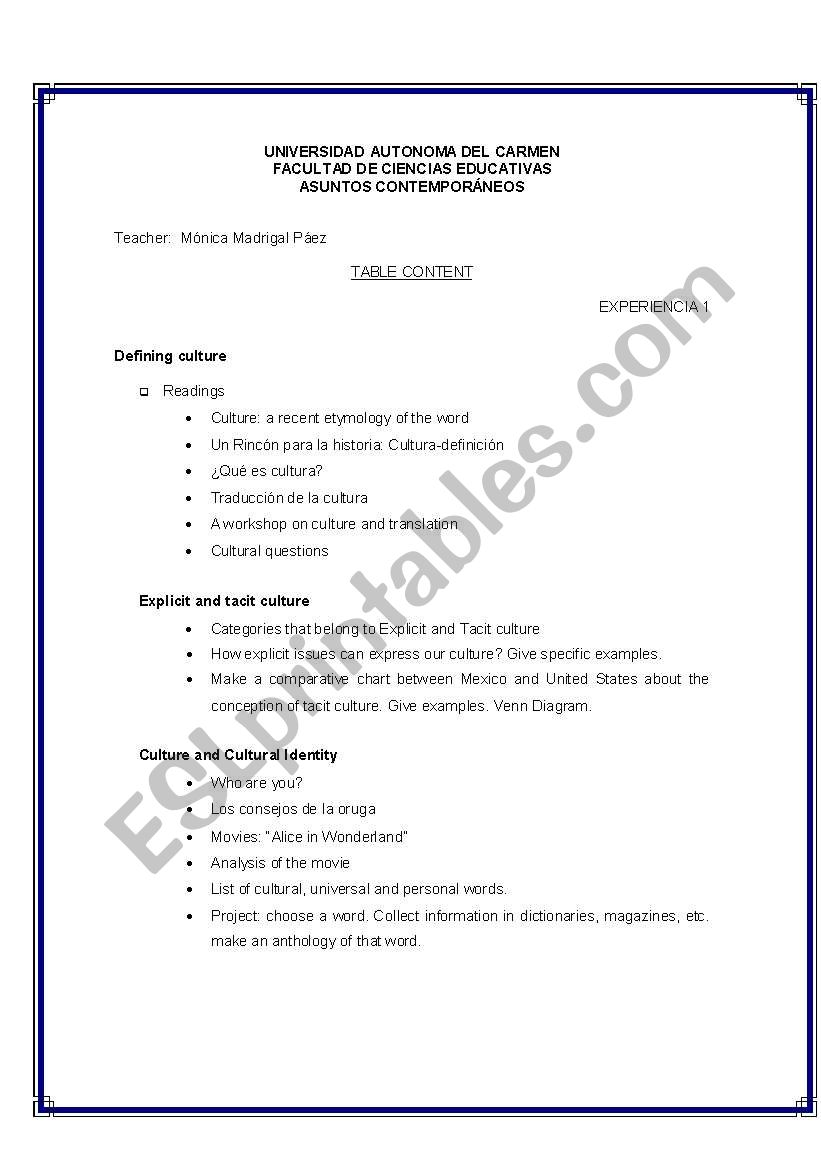 English worksheets: A manual about culture