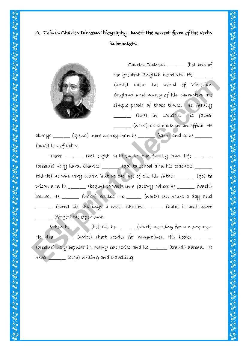 Charles Dickens _ Past Simple worksheet