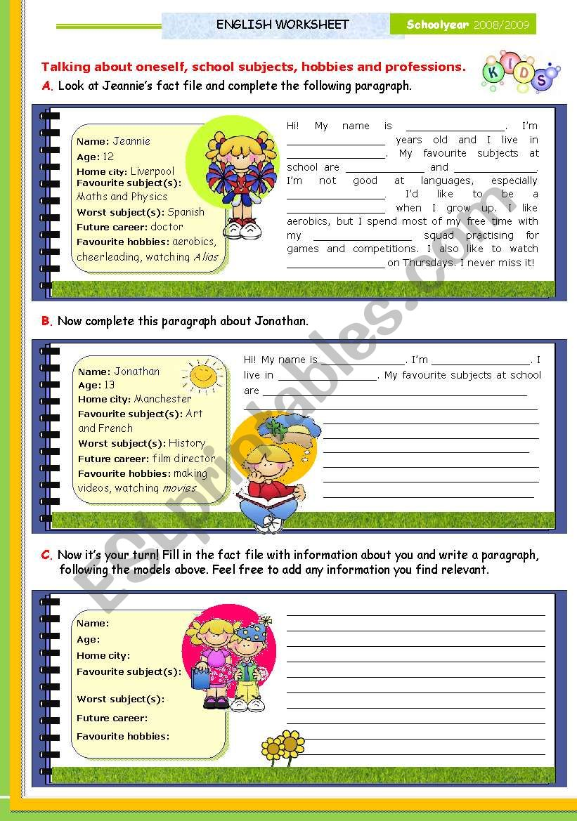 Writing series  -  (1)  -  Writing about oneself: Personal information, school subjects, hobbies and future careers for upper elementary and Lower Intermediate students