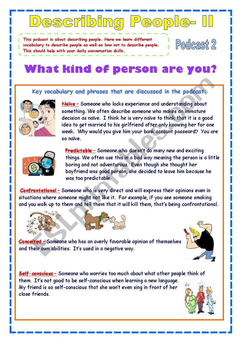 Describing People 2nd Part Useful Personality Adjectives 2 Pages