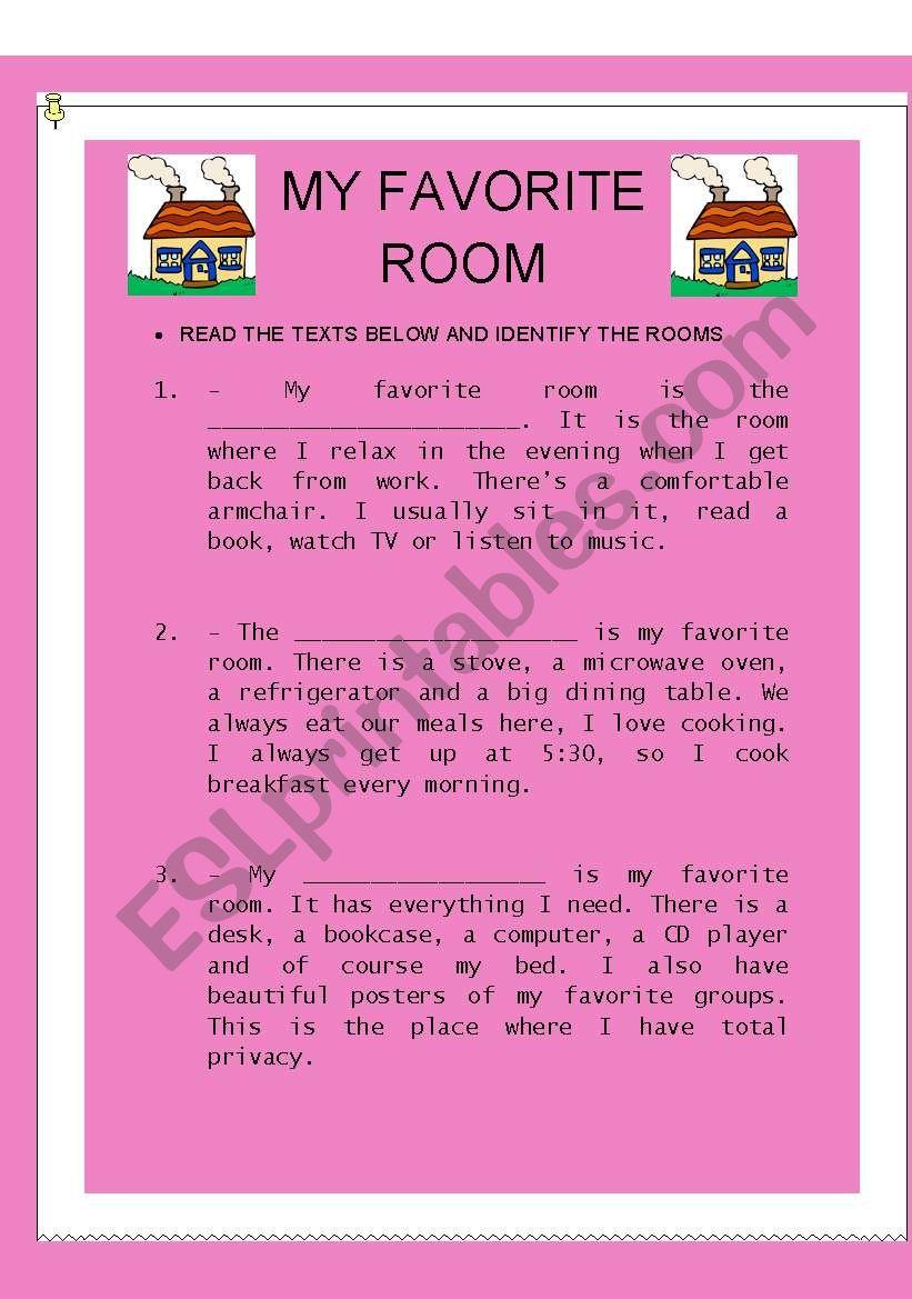 MY FAVORITE ROOM worksheet