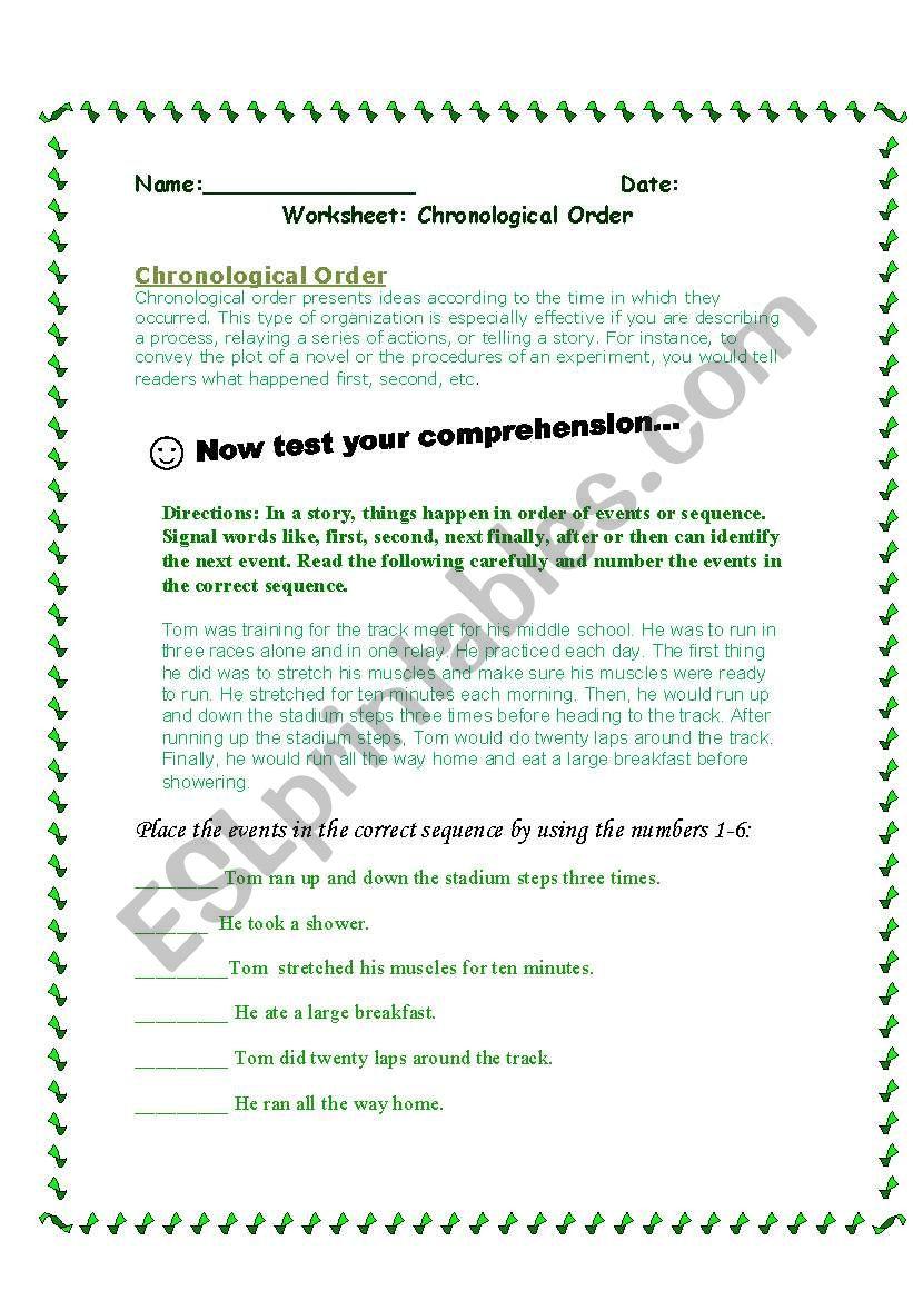 Chronological Order Worksheets Kidz Activities