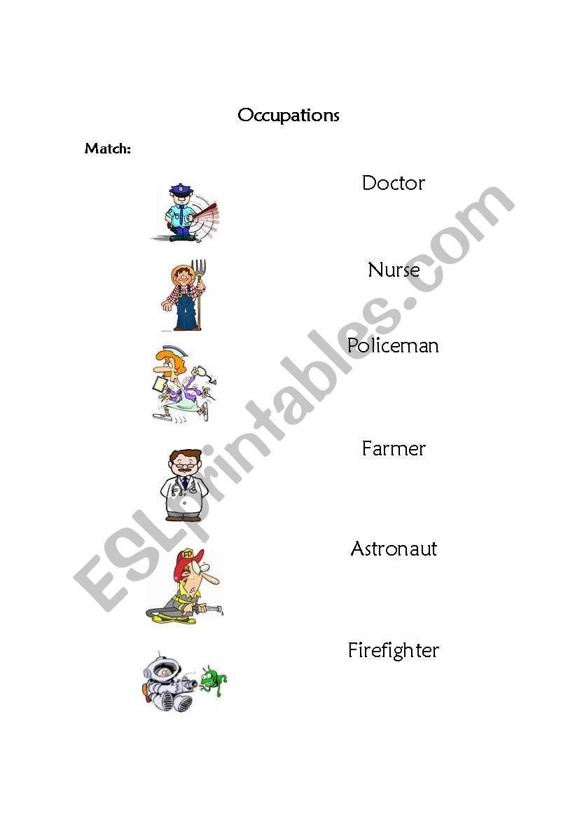 Occupations - Match  worksheet