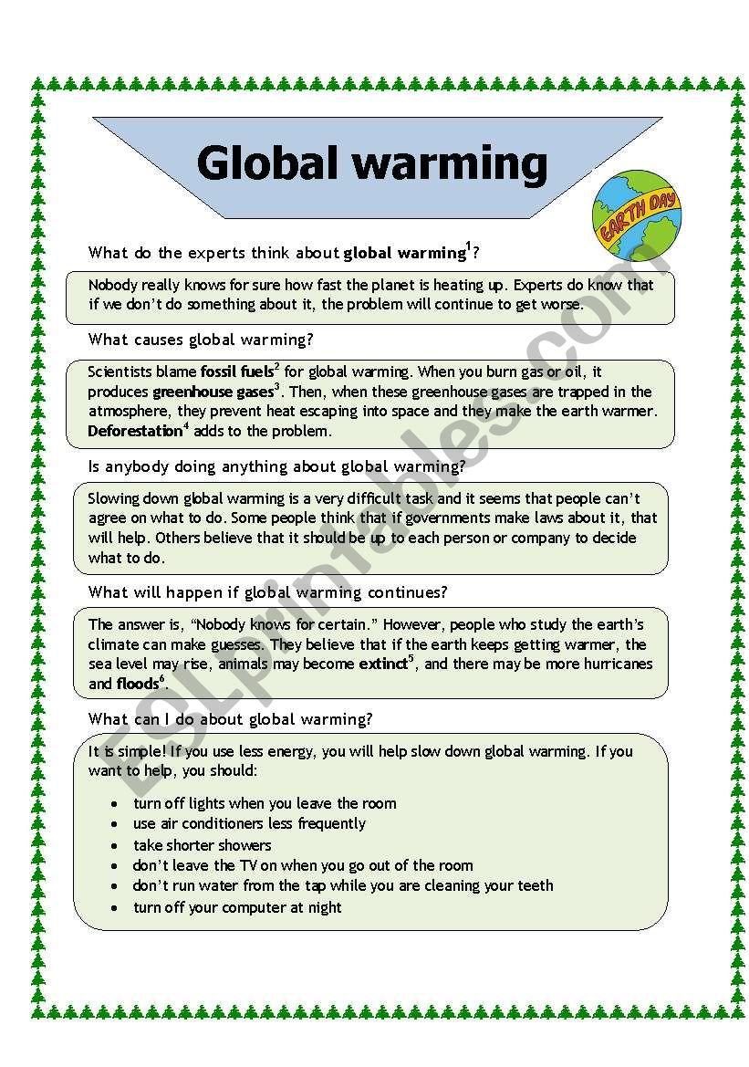Global Warming Esl Worksheet By Baiba