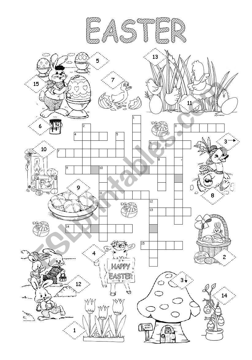 Easter crossword worksheet