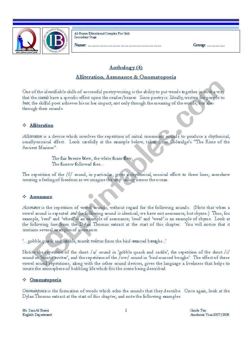 alliteration assonance onomatopoeia esl worksheet by sarashami. Black Bedroom Furniture Sets. Home Design Ideas
