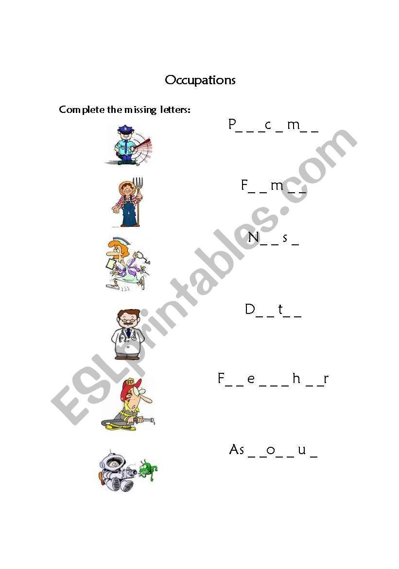 Occupations - Missing Letters worksheet