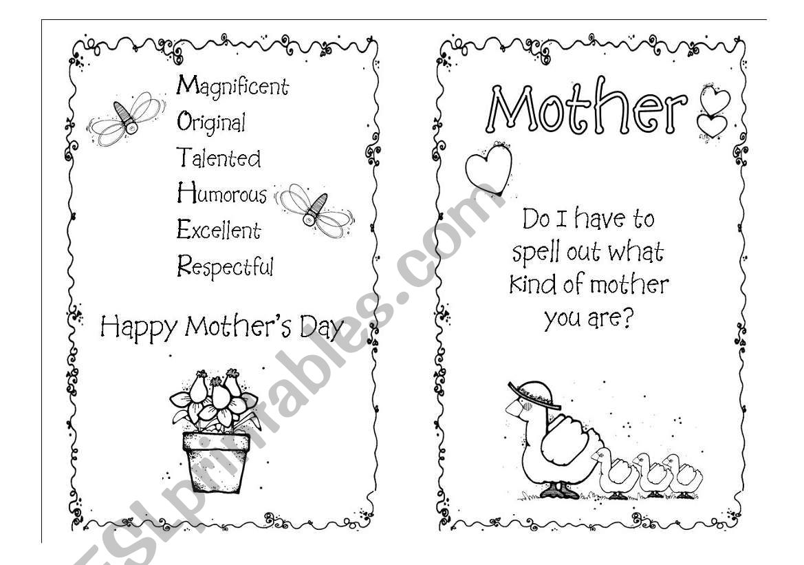 mother´s day card worksheet