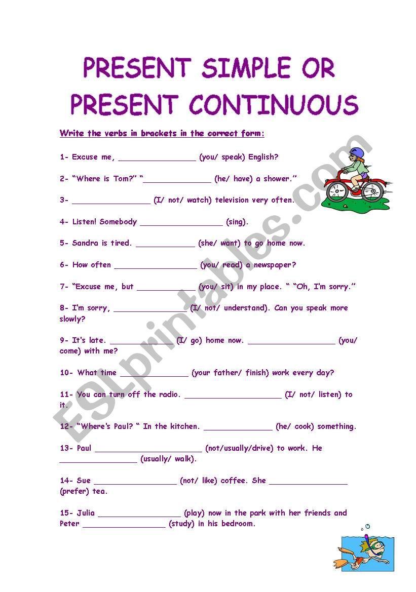 Present Simple Vs Present Continuous.