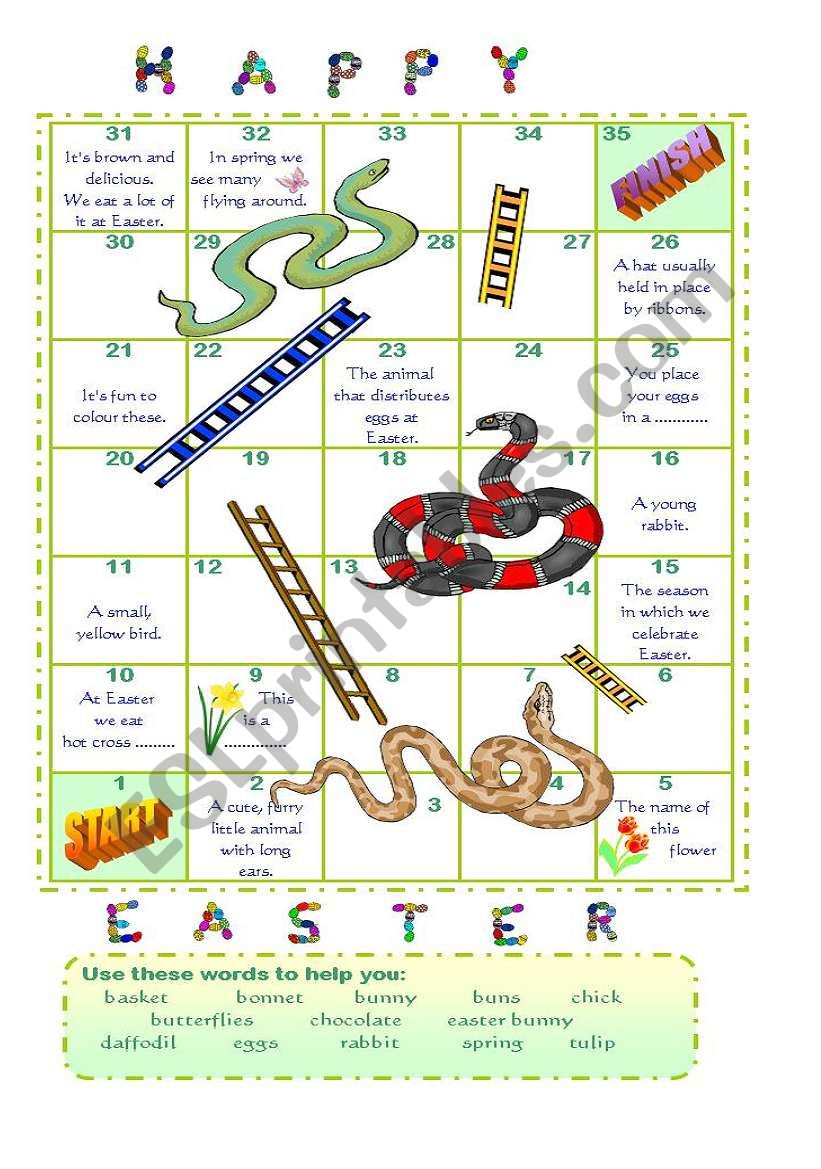 Easter snakes and ladders (2) worksheet