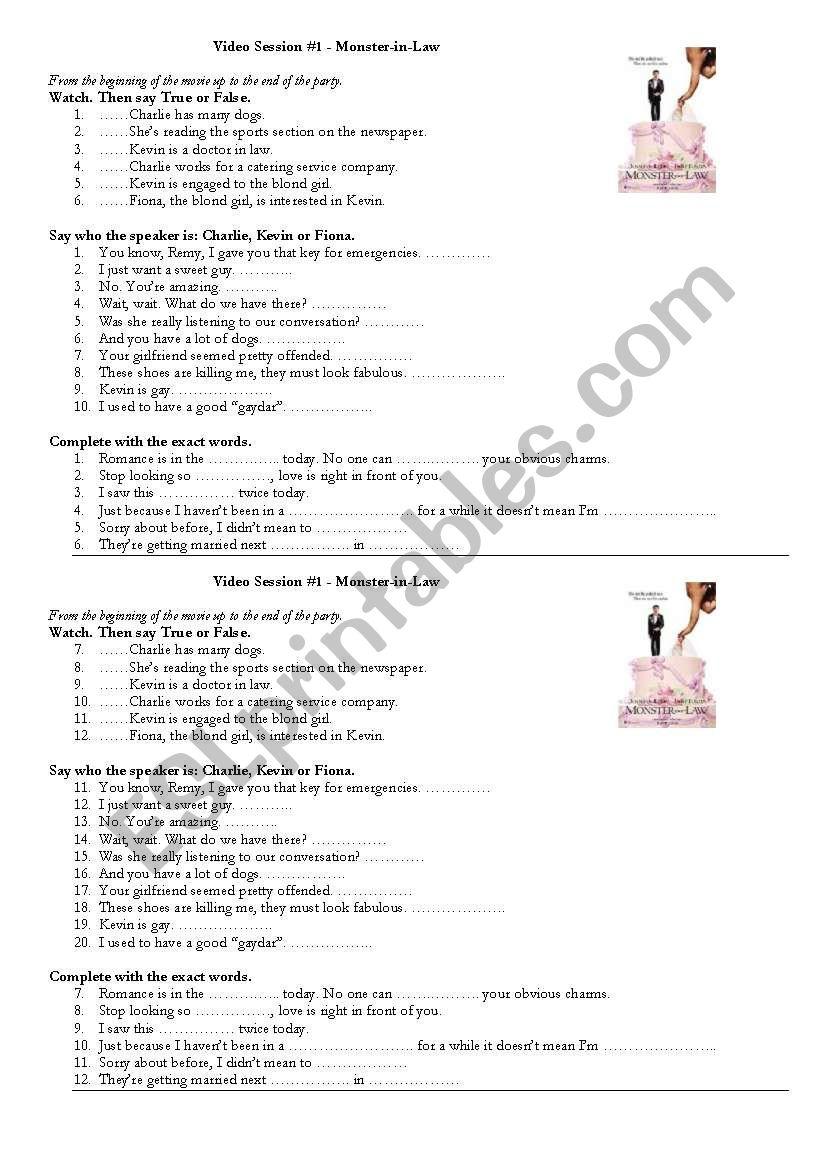 MOnster in Law worksheet