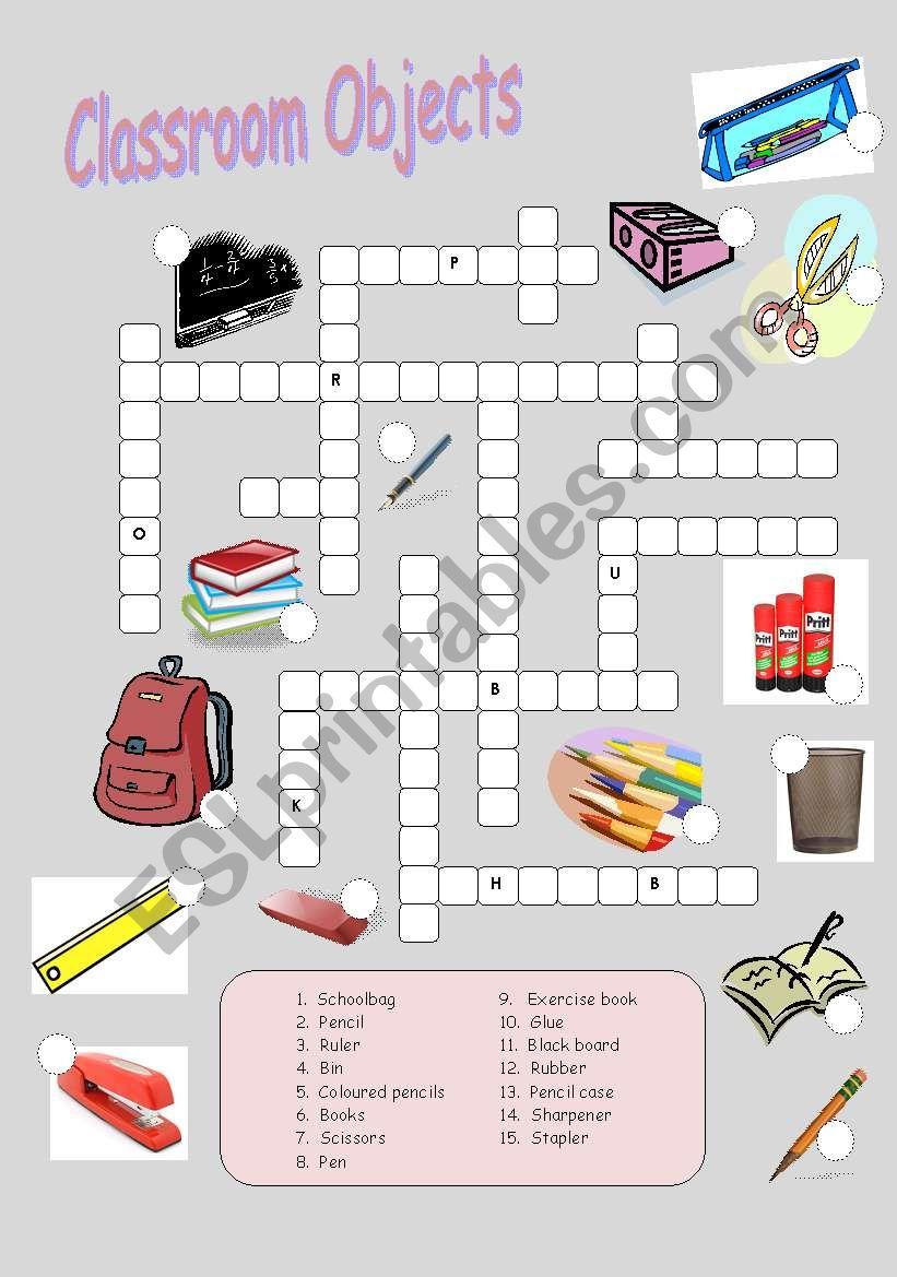 Classroom Objects Crossword worksheet