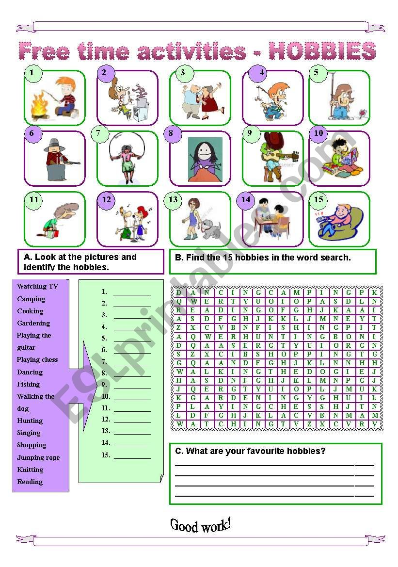 15 Free time activities  worksheet