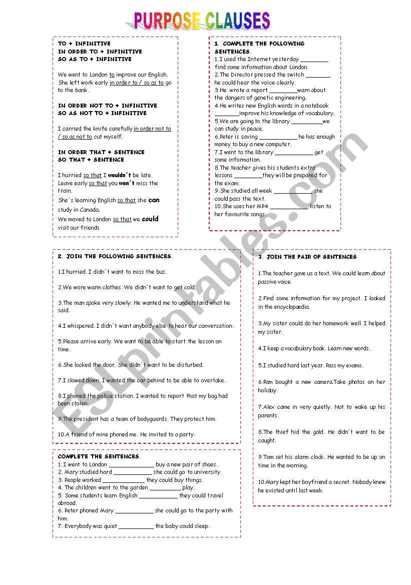 PURPOSE CLAUSES worksheet