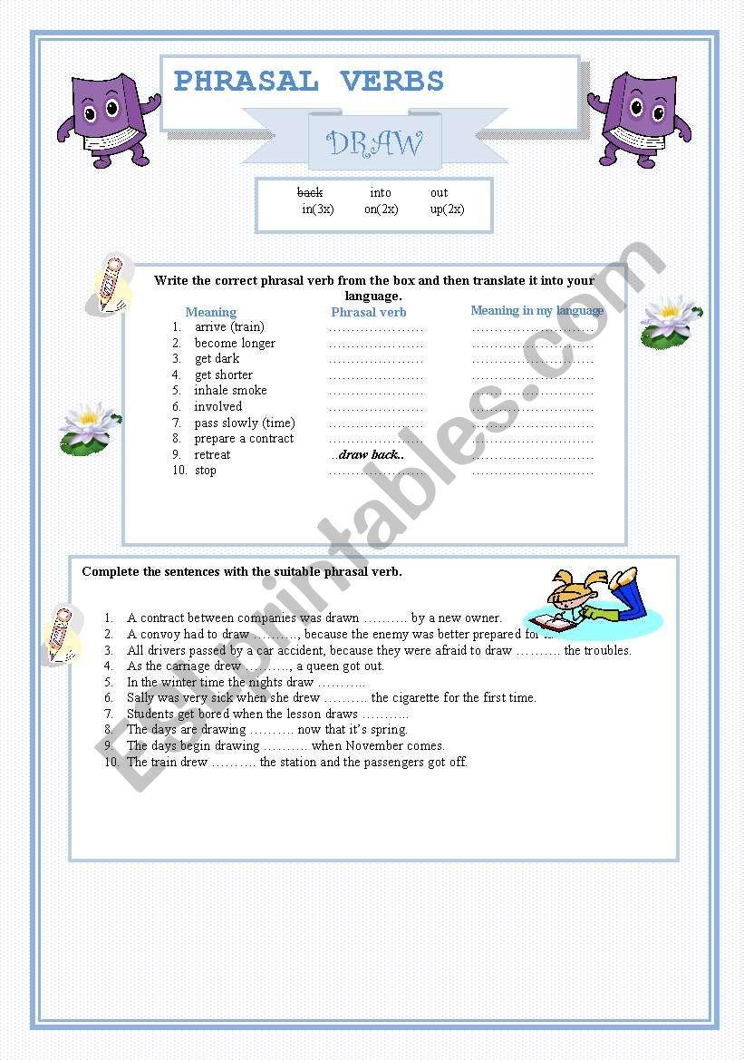 Phrasal Verb Draw Esl Worksheet By Ynroko1