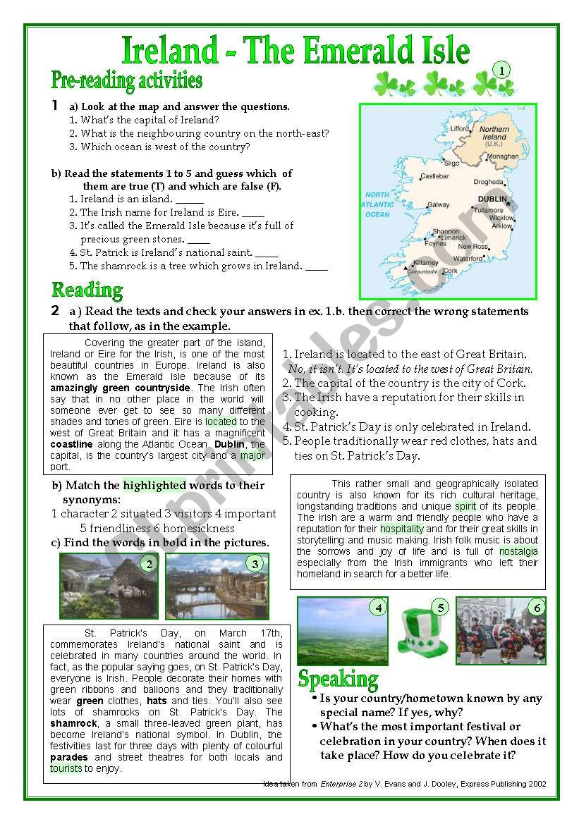 Ireland-The Emerald Isle worksheet
