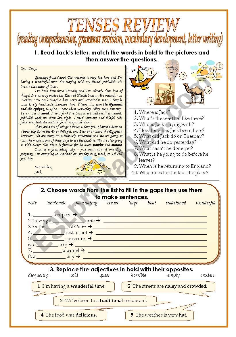 TENSES REVIEW (two pages) worksheet