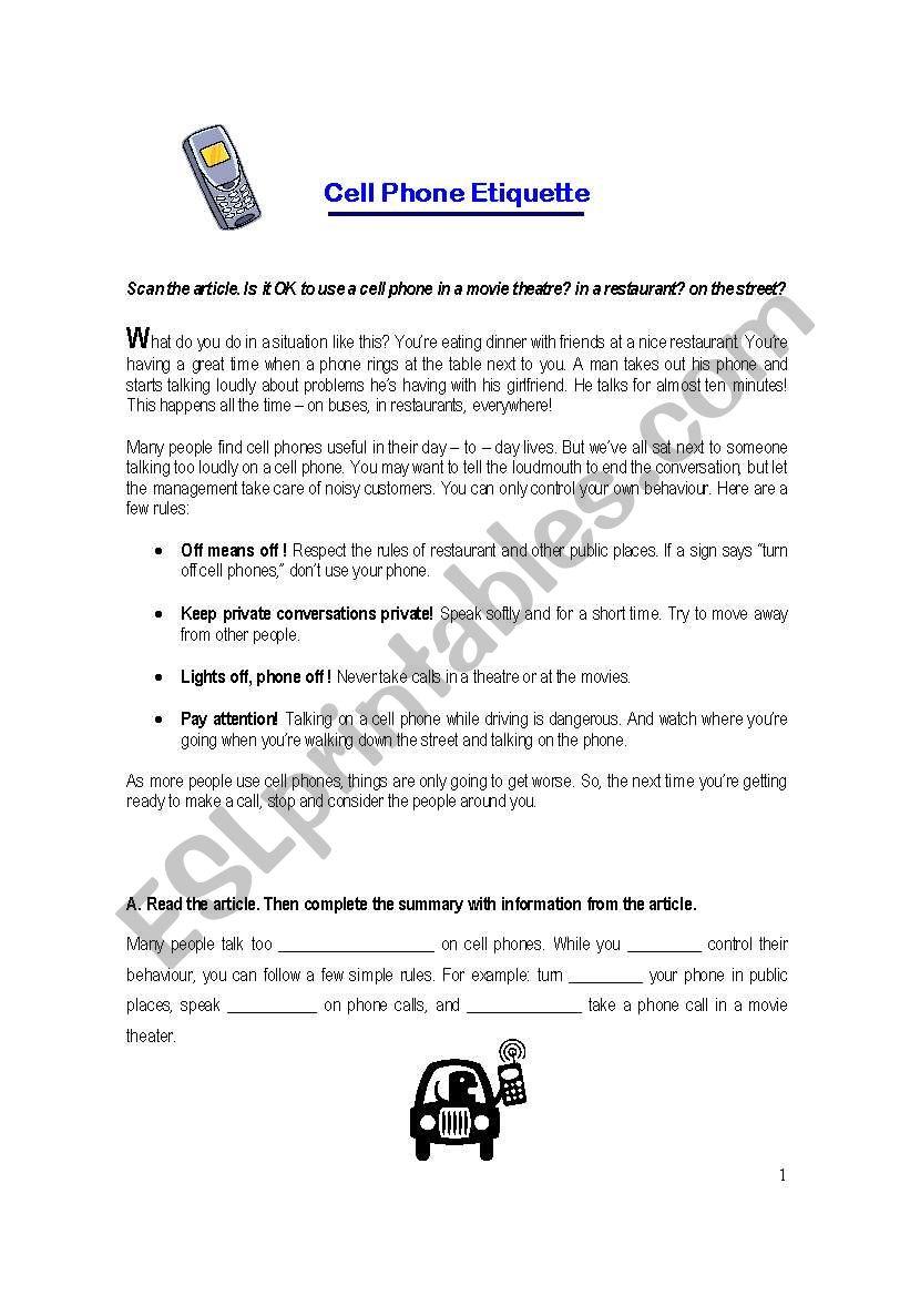 Cell phone Etiquette   ESL worksheet by lolisgr