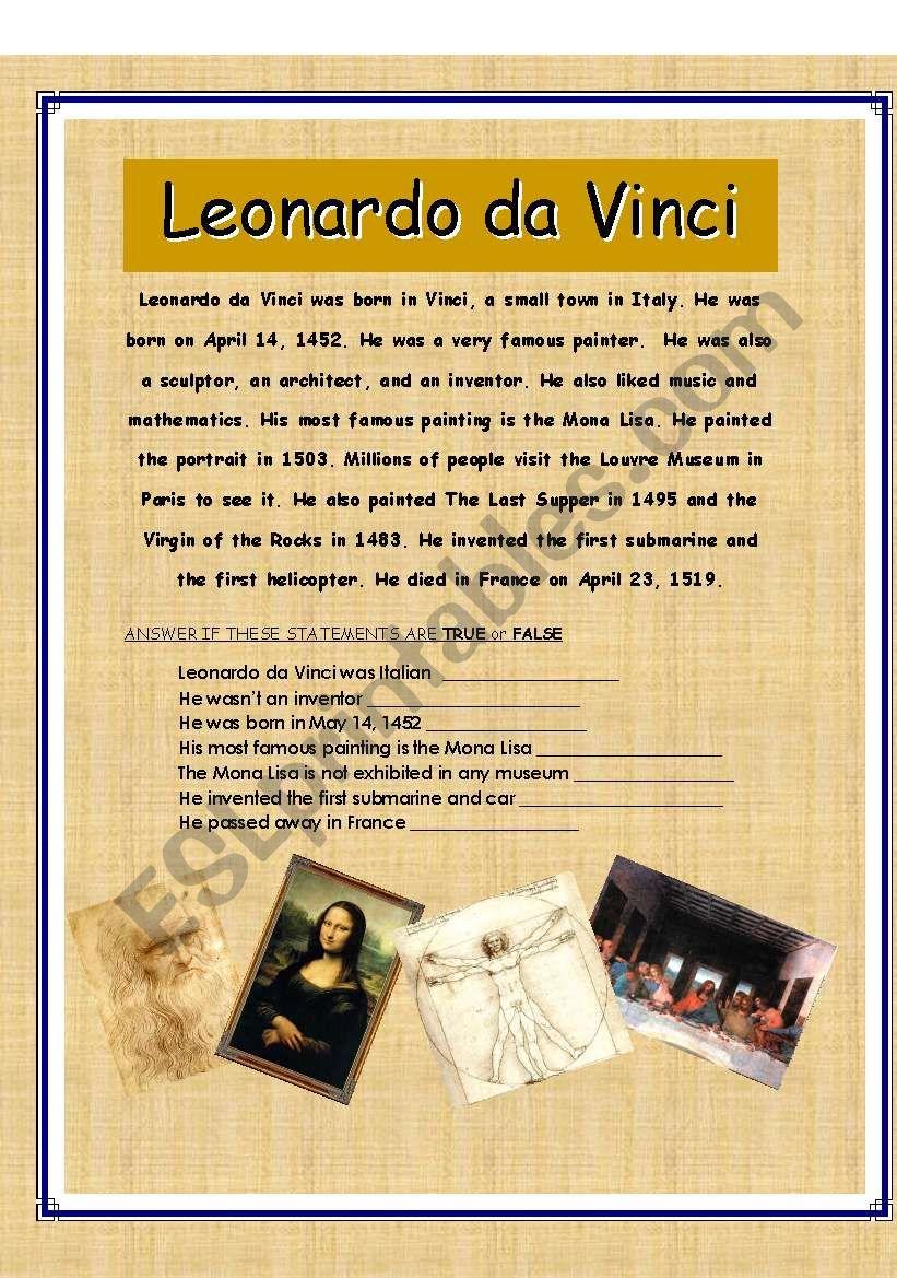 LEONARDO DA VINCI READING (true / false exercise)