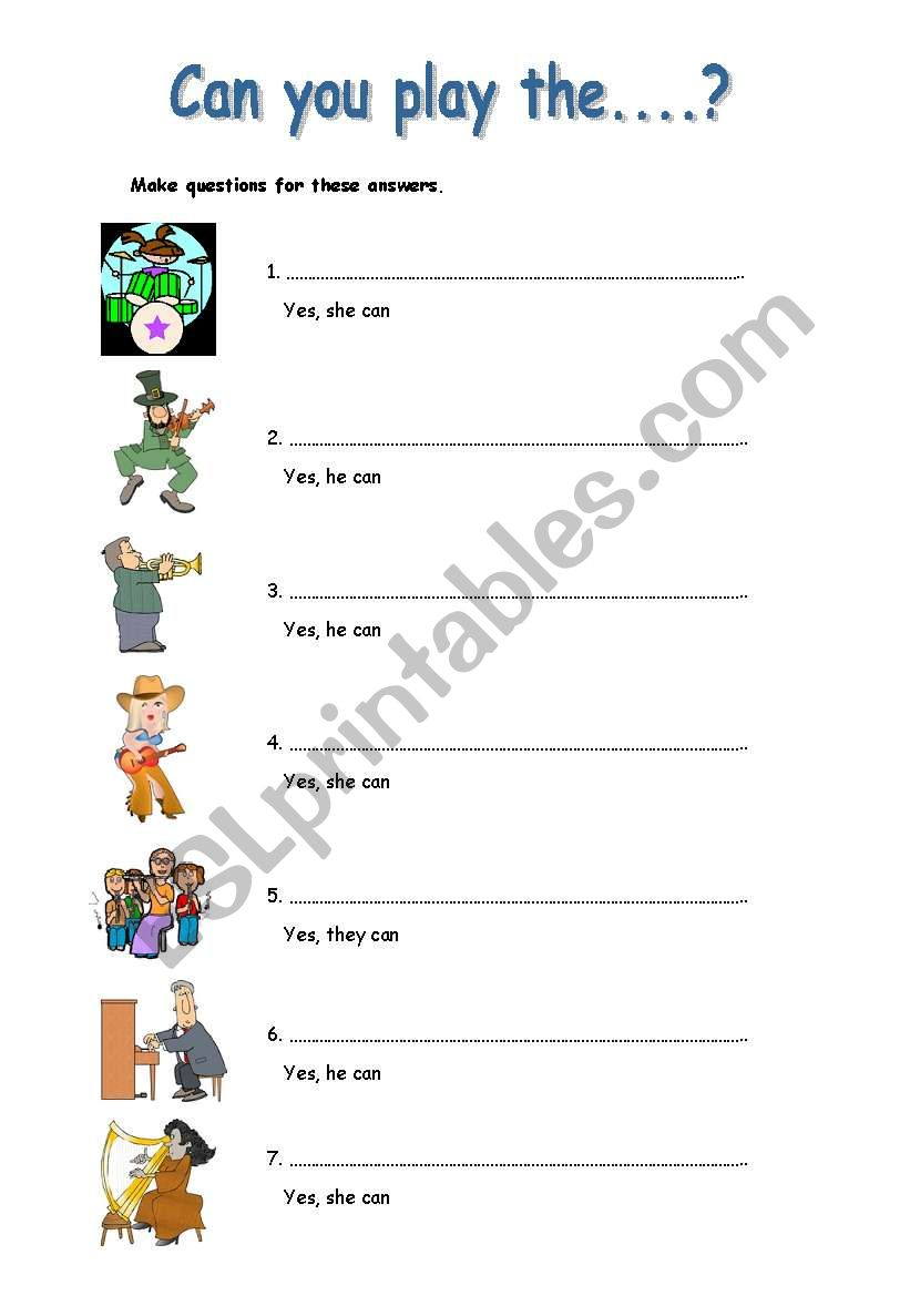 Can you play the....? worksheet