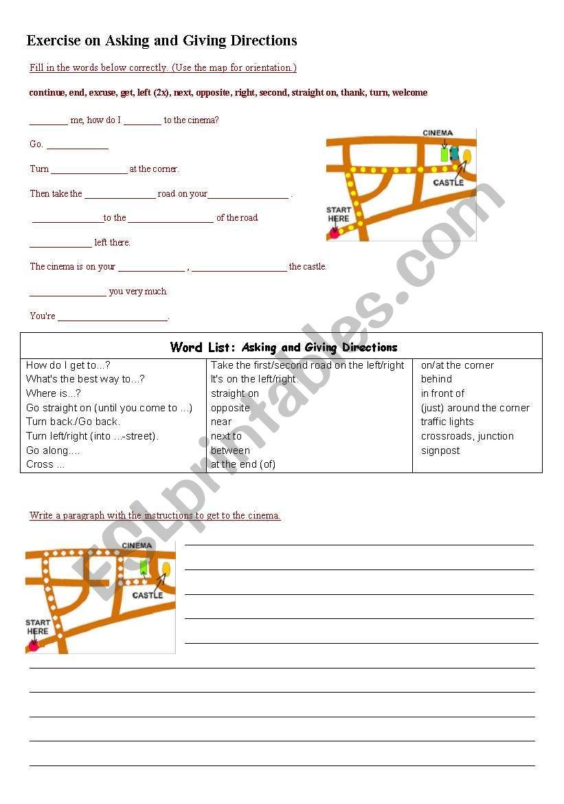 asking and giving directions esl worksheet by juan macar. Black Bedroom Furniture Sets. Home Design Ideas