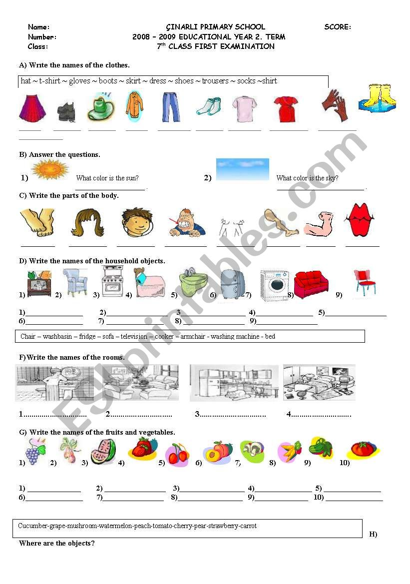 LOTS OF EXERCISES FOR ELEMANTARY STUDENTS