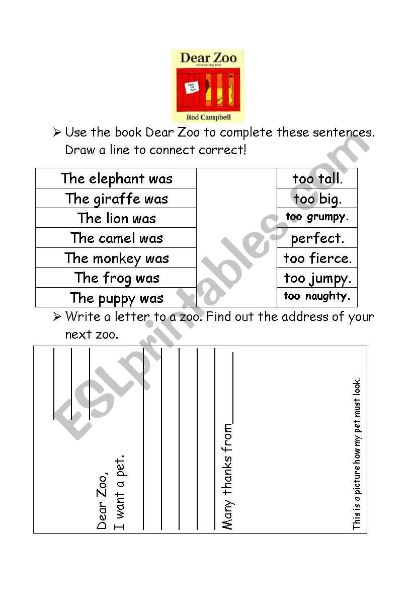 worksheet Dear Zoo Worksheet english worksheets dear zoo by rod cambell letters to the zoo