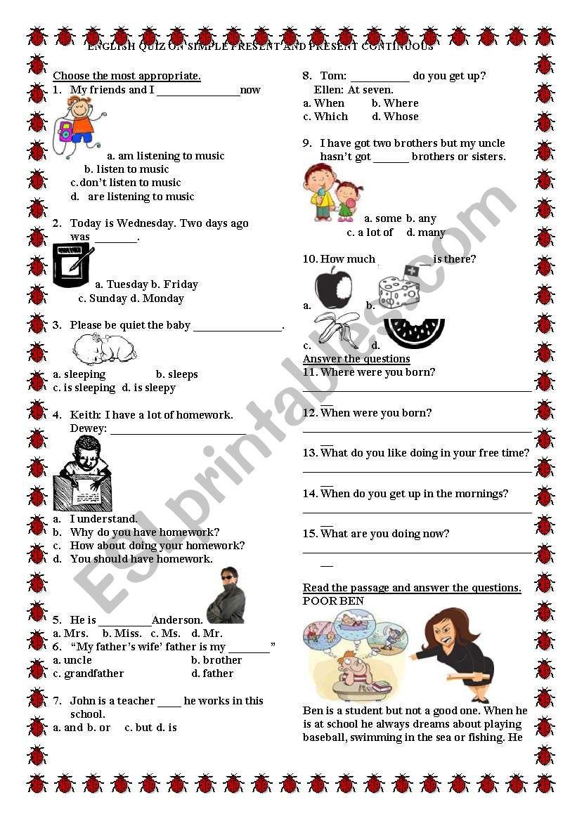 7TH GRADE QUIZ worksheet