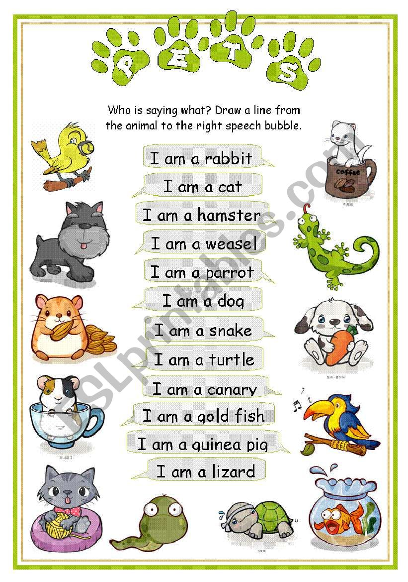 Pets - Who is saying what worksheet