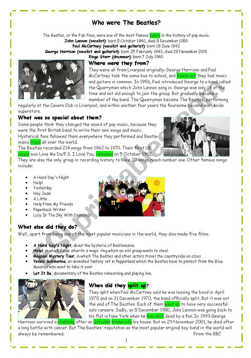 Who were the Beatles_ reading comprehension and simple past