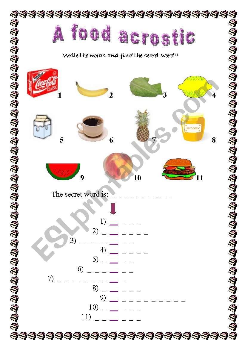A food acrostic worksheet