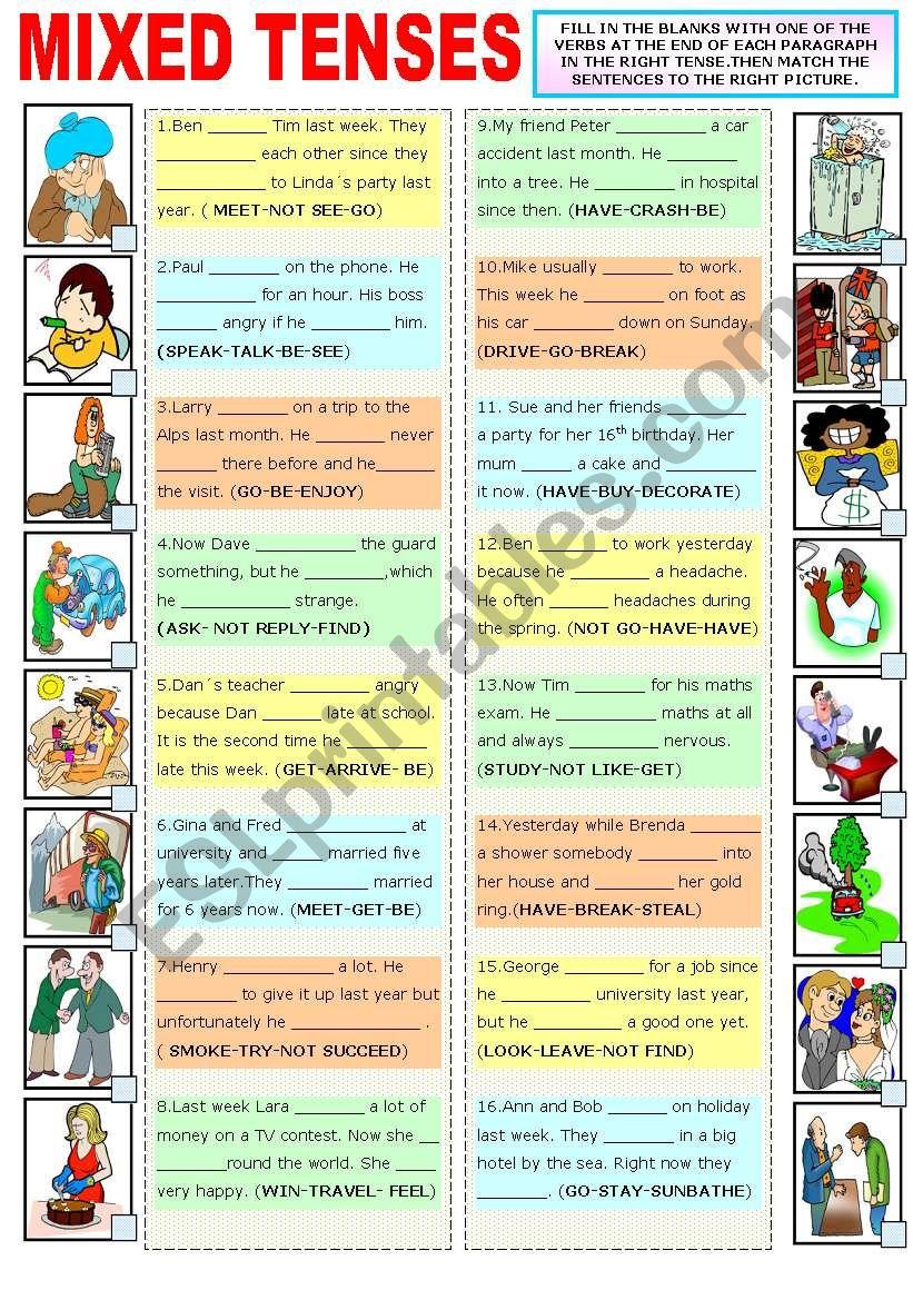 MIXED TENSES worksheet