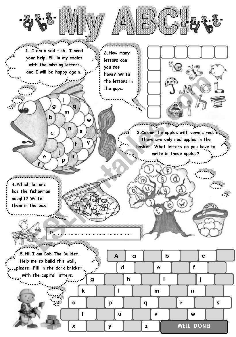 MY A B C - FUN WITH ALPHABET  (amazing activities to practise English alphabet)