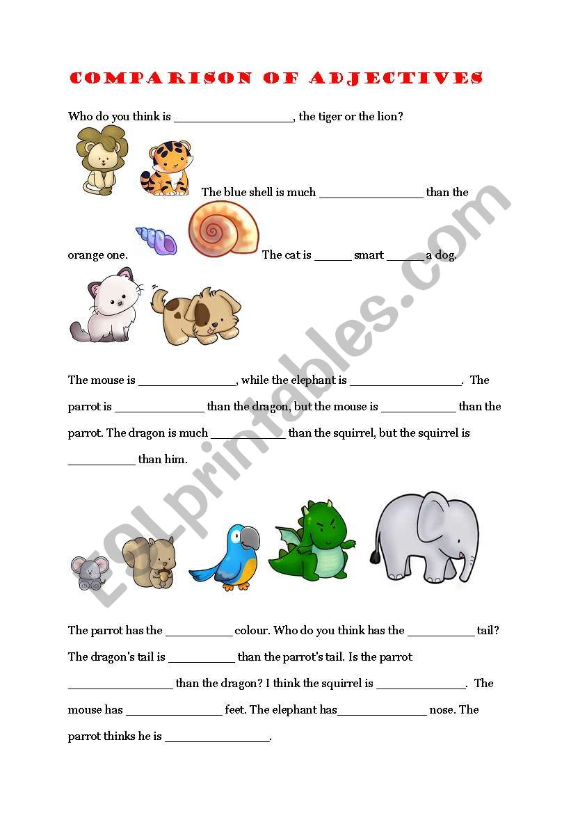 Comparison of adjectives exercise - ESL worksheet by Alianora