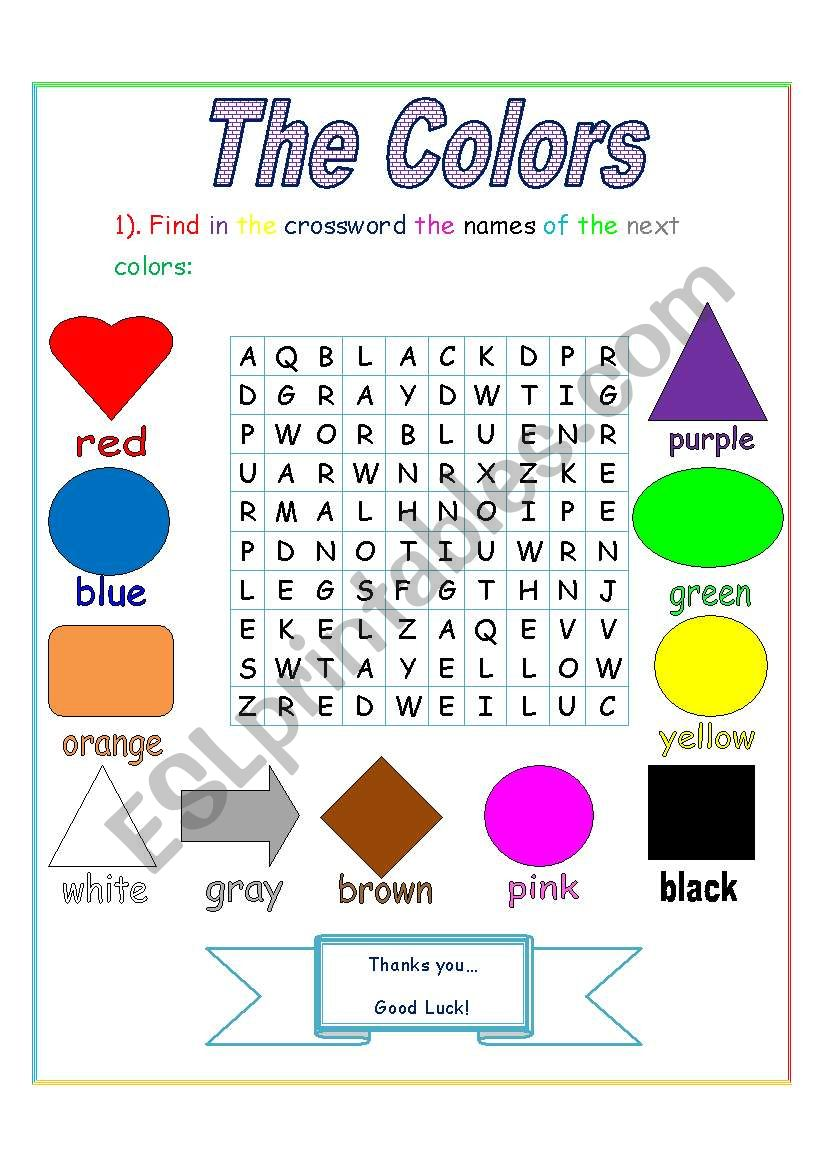 The colors (crossword) worksheet