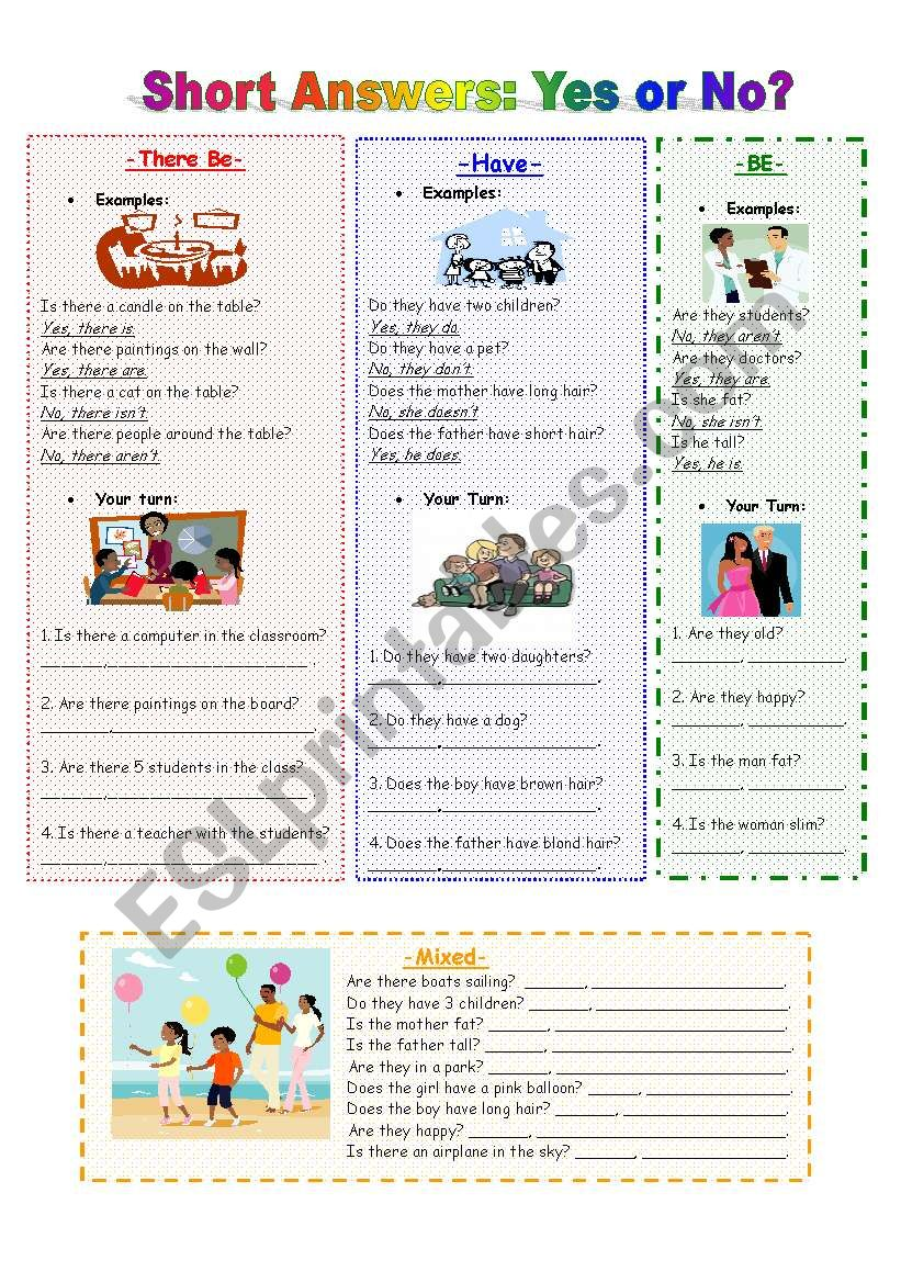 Short Answers: Yes or No? worksheet