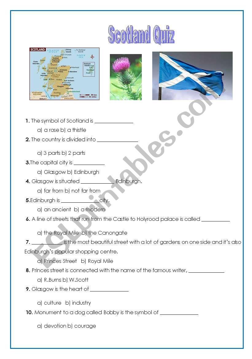 Scotland Quiz worksheet
