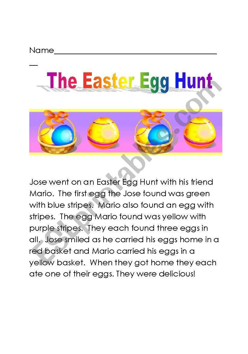 The Easter Egg Hunt worksheet