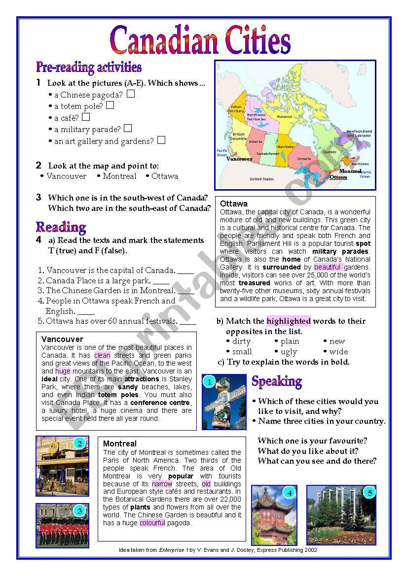 Canada ( Canadian Cities) worksheet