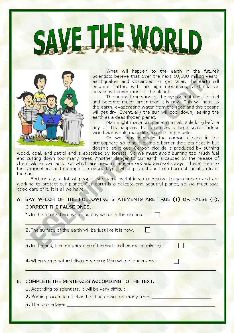 Save the World worksheet