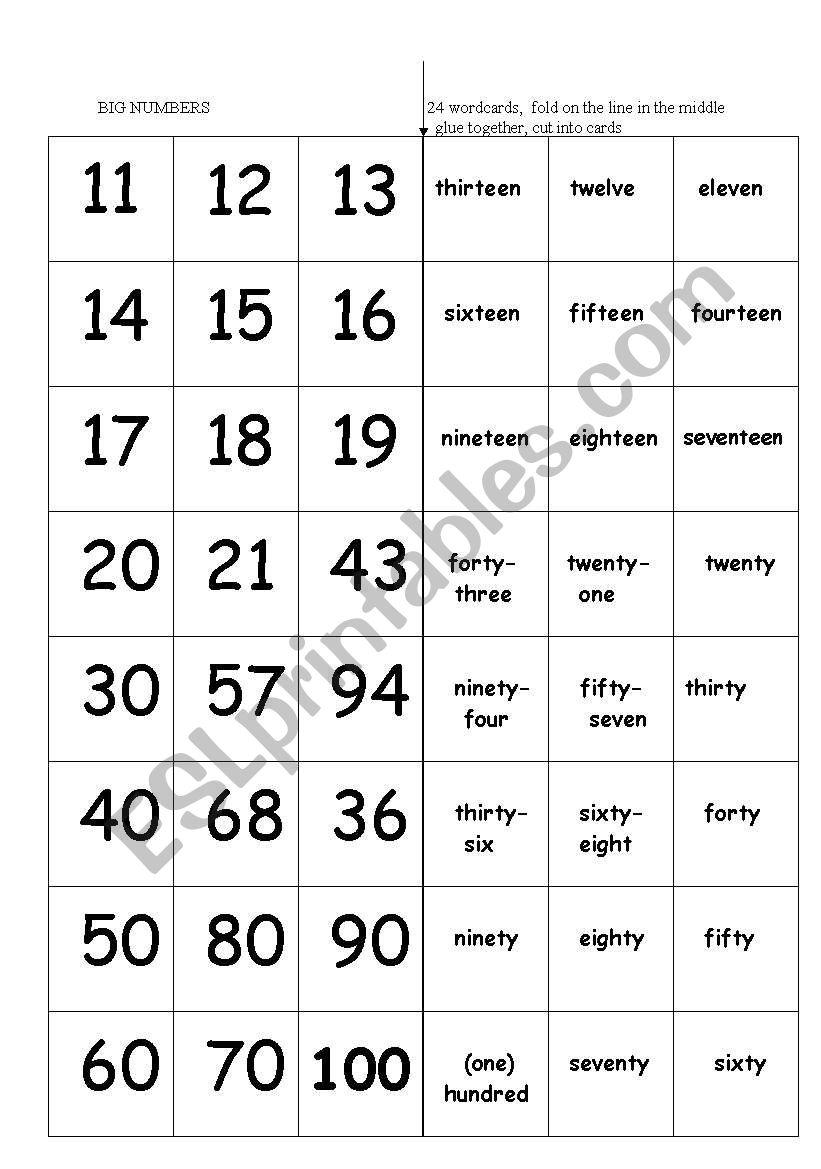 Big Numbers - wordcards - ESL worksheet by marylin