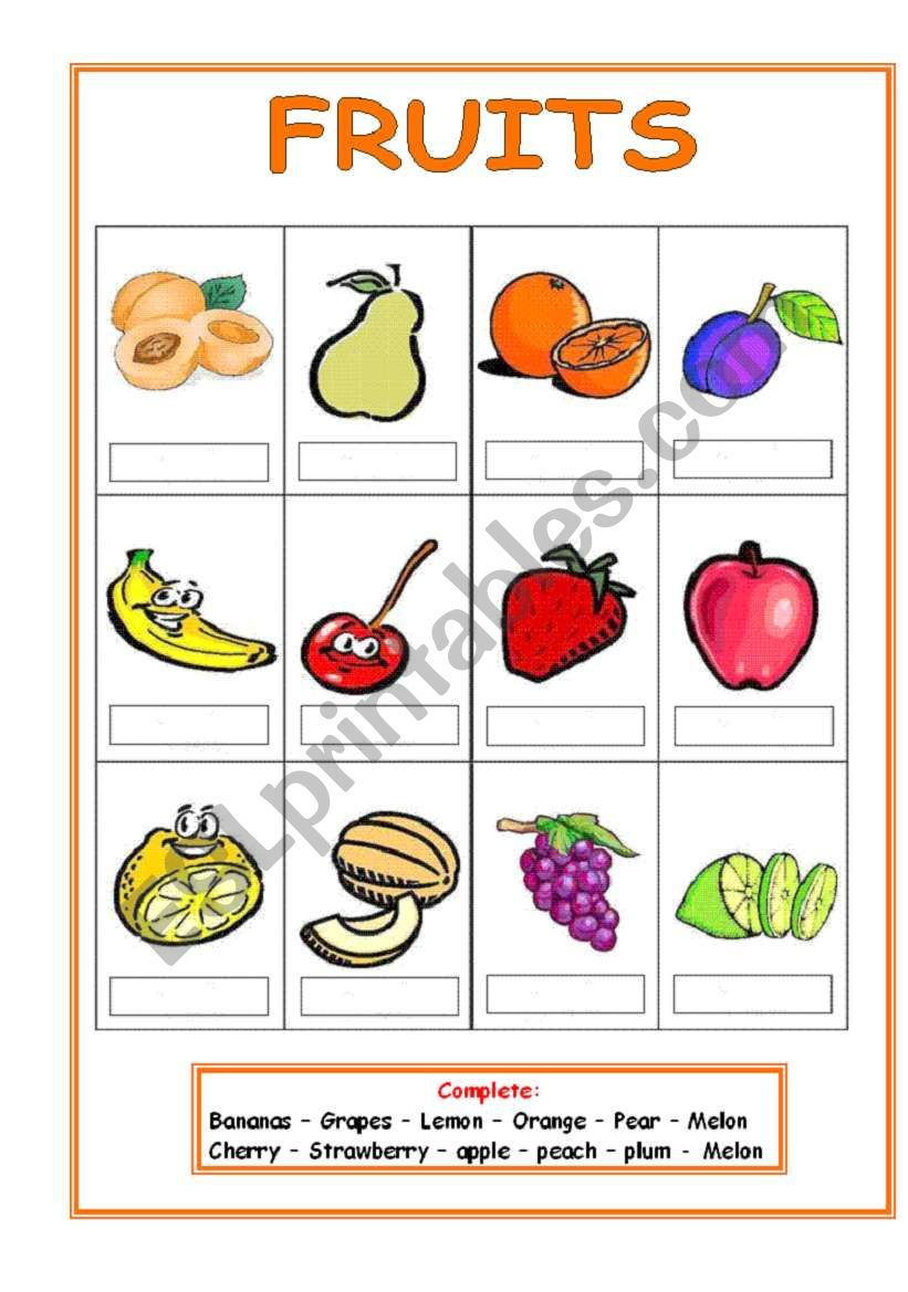 Fruits (3 pages) worksheet