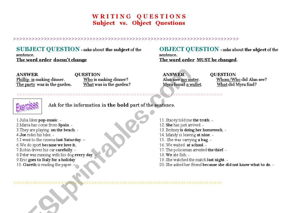 SUBJECT vs. OBJECT QUESTIONS worksheet