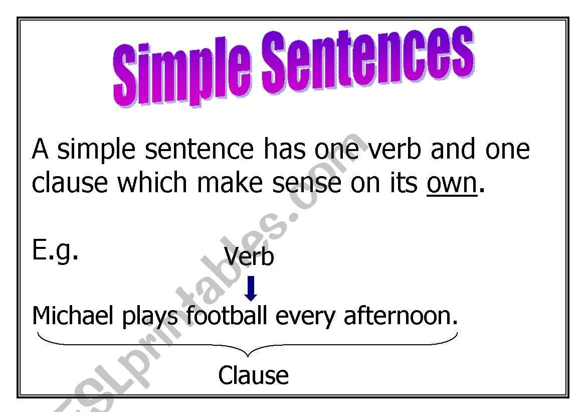 Sentence Types worksheet